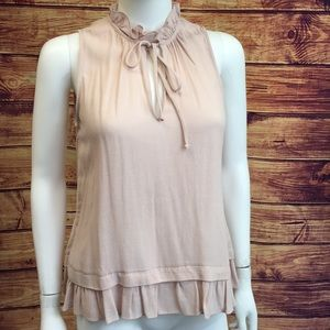 Waverly Grey Blush Ruffle Trim Sleeveless Blouse